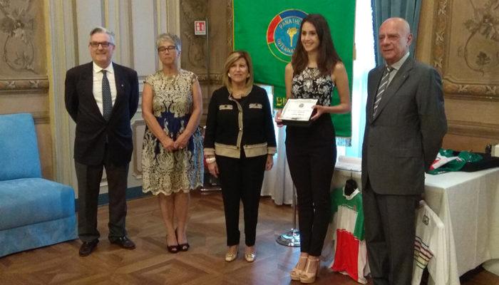 Letizia Alberti premiata dal Panathlon cittadino